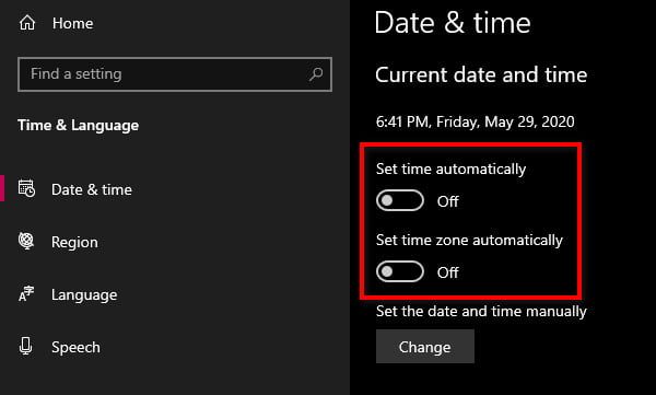 disable update time zone