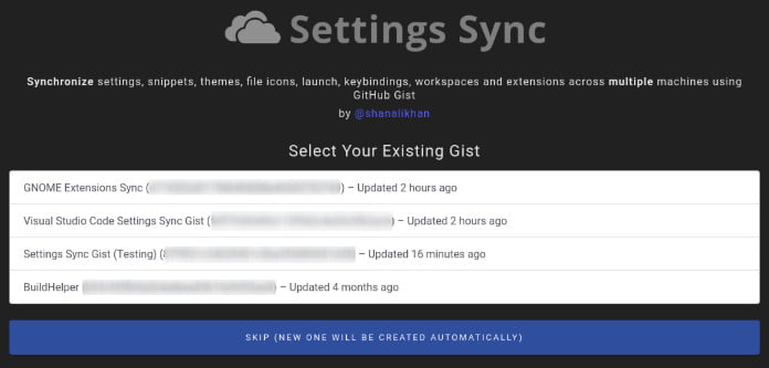 extension Settings Sync