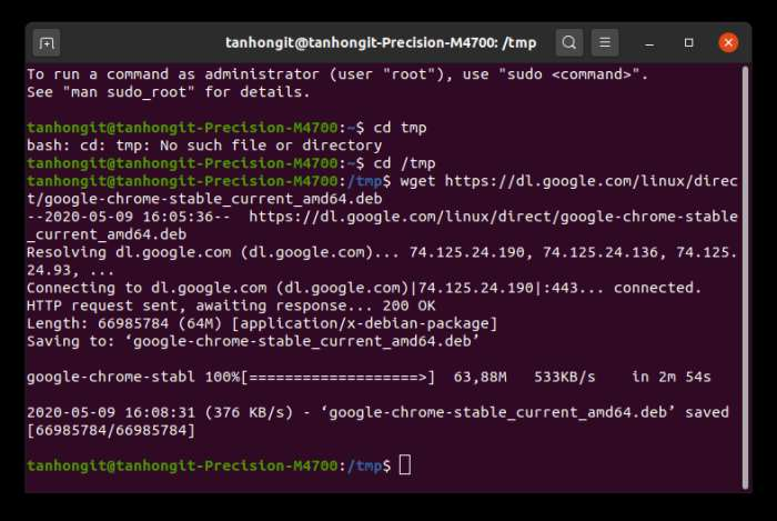 lenh wget tai ve Google Chrome